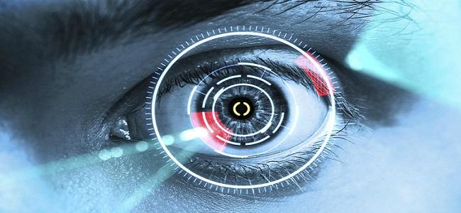 laser scanning eye. blue tone